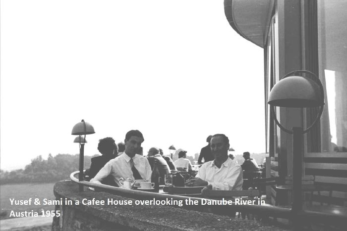 Sami and Yusef in a caffee over the Danube 1955