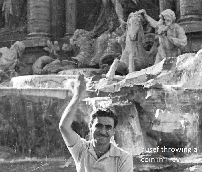 Yusef in Fontana Di Trevi in Rome wishing. 1955